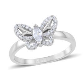 ELANZA AAA Simulated White Diamond (Mrq) Butterfly Ring in Rhodium Plated Sterling Silver
