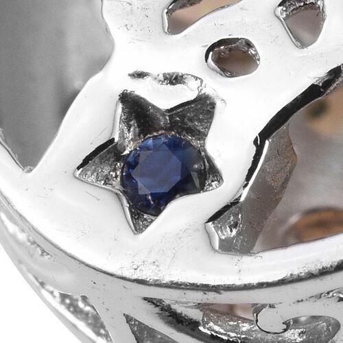 GP Ethiopian Welo Opal (Ovl), Kanchanaburi Blue Sapphire Pendant With Chain in Platinum Overlay Sterling Silver 3.000 Ct.