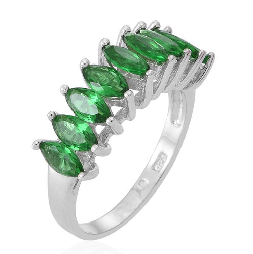 ELANZA AAA Simulated Emerald (Mrq) Half Eternity Ring in Rhodium Plated Sterling Silver