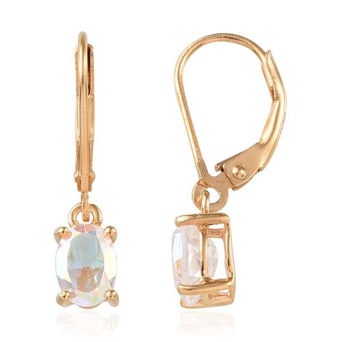 Mercury Mystic Topaz (Ovl) Lever Back Earrings in 14K Gold Overlay Sterling Silver 1.500 Ct.