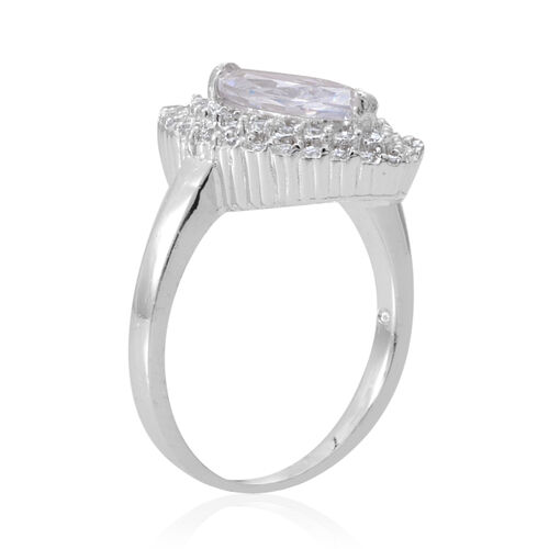 AAA Simulated White Diamond (Mrq) Ring in Sterling Silver