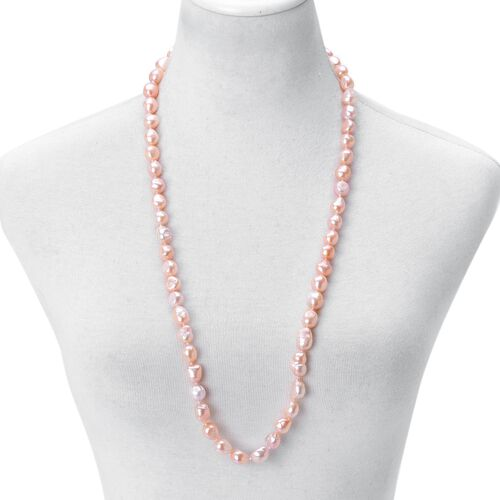 AAAA Rare Double Shine Fresh Water NATURAL Peach Baroque Pearl Necklace (11-13 mm) - Size 32 Inch