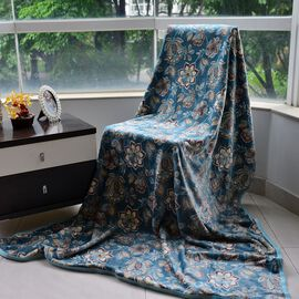 Light Aquamarine Colour Microfiber Flanel Printed Blanket (Size 200x150 Cm)