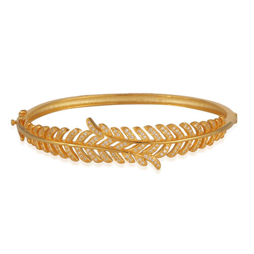ELANZA AAA Simulated Diamond (Rnd) Feather Bangle (Size 7.5) in 14K Gold Overlay Sterling Silver