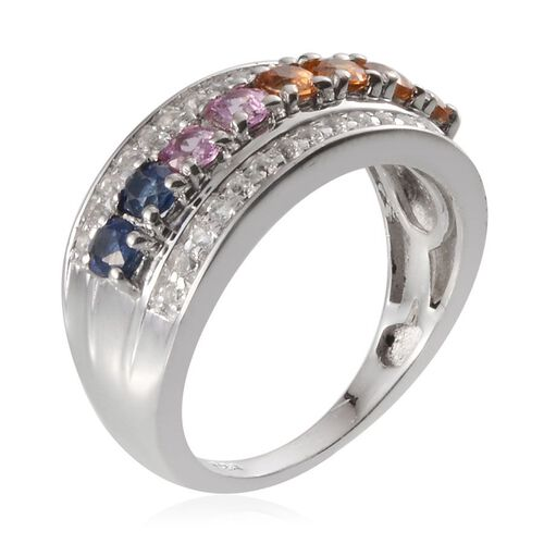 Kanchanaburi Blue Sapphire (Rnd), Orange Sapphire, Yellow Sapphire, Pink Sapphire and White Topaz Ring in Platinum Overlay Sterling Silver 1.750 Ct.