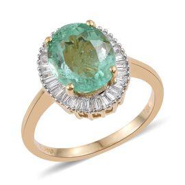 ILIANA 18K Y Gold AAA Boyaca Colombian Emerald (Ovl 3.10 Ct), Diamond (SI/G-H) Ring 3.500 Ct.