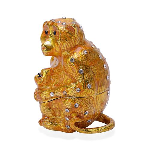 Green and White Austrian Crystal Studded Gold Enameled Monkey Mother and Son Trinket Box
