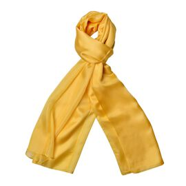 100% Mulberry Silk Primrose Yellow Colour Scarf (Size 180x110 Cm)