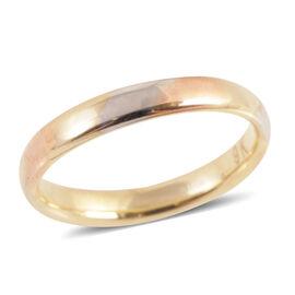Royal Bali Collection 9K Yellow, White, Rose Gold Band Ring