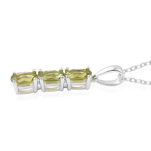 AA Hebei Peridot (Ovl) Trilogy Pendant With Chain in Rhodium and Platinum Overlay Sterling Silver 1.500 Ct.