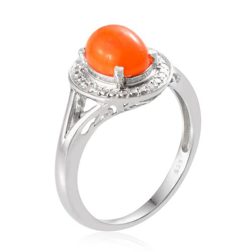 Orange Ethiopian Opal (Ovl 0.90 Ct), Diamond Ring in Platinum Overlay Sterling Silver 0.920 Ct.