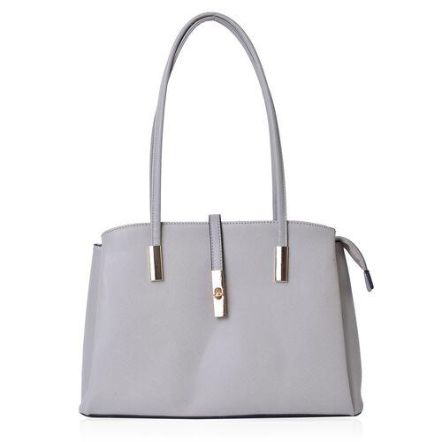 Grey Colour Tote Bag (Size 35.5x23.5x13 Cm)
