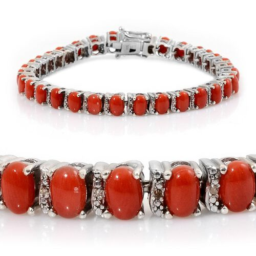 Natural Mediterranean Coral (Ovl), Diamond Bracelet in Platinum Overlay Sterling Silver (Size 7.5) 16.020 Ct.