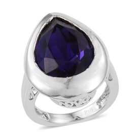J Francis Crystal from Swarovski - Purple Velvet Crystal (Pear) Solitaire Ring in ION Plated Platinum Bond
