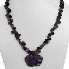Purple Shell and Amethyst Drusy Necklace (Size 24) in Silver Bond 520.000 Ct.