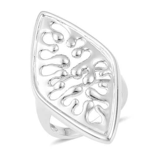 LucyQ Oval Wave Ring in Rhodium Plated Sterling Silver 6.86 Gms.
