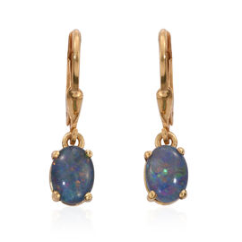 Australian Boulder Opal (Ovl) Lever Back Earrings in 14K Gold Overlay Sterling Silver 1.750 Ct.