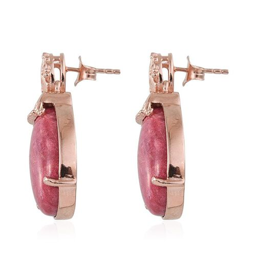 Norwegian Thulite (Pear) Earrings in Rose Gold Overlay Sterling Silver 28.750 Ct.
