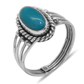 Royal Bali Collection Arizona Sleeping Beauty Turquoise (Ovl) Solitaire Ring in Sterling Silver 1.460 Ct.