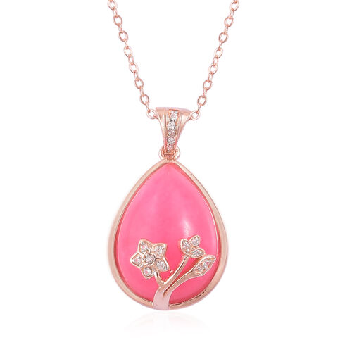 Pink Jade (Pear), White Zircon Pendant With Chain in Rose Gold Overlay Sterling Silver 12.080 Ct.