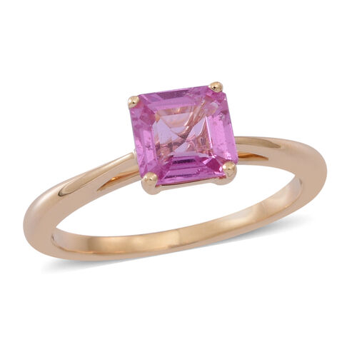 ILIANA 18K Y Gold Asscher Cut Pink Sapphire Solitaire Ring 1.000 Ct.