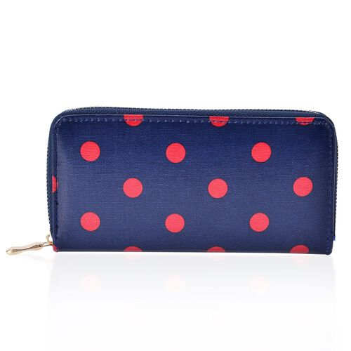 Set of 2 - Cream Polka Dots Pattern Red Colour and Red Polka Dots Pattern Navy Blue Colour Wallet (Size 20x10 Cm, 15x10 Cm)
