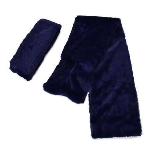 Set of 2 - Blue Colour Headband (Size 45x10 Cm) and Scarf (Size 90x15 Cm)
