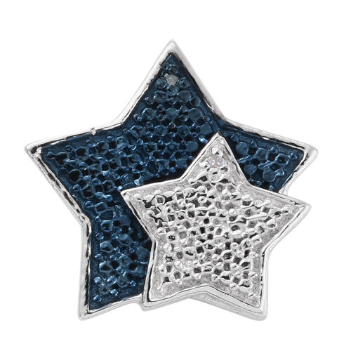 Blue Diamond (Rnd), White Diamond Star Pendant in Platinum Overlay Sterling Silver