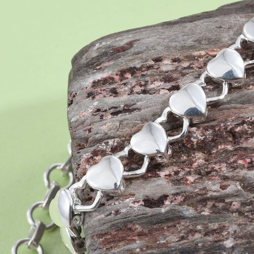 Sterling Silver Heart Link Bracelet (Size 7.5 with 1.0 inch Extender), Silver wt 5.60 Gms.