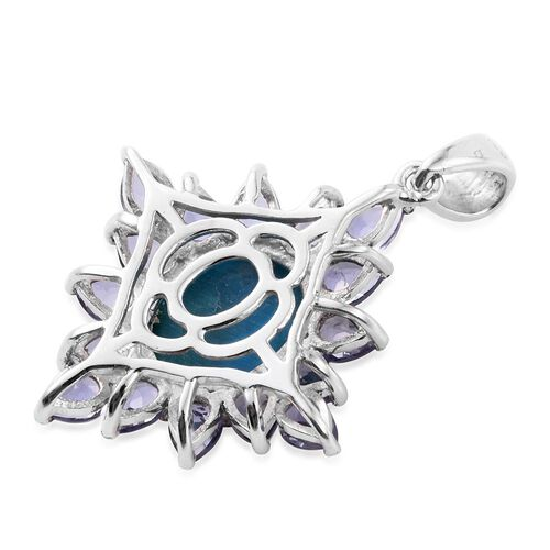 Natural Rare Opalina (Ovl 2.80 Ct), Iolite Pendant in Platinum Overlay Sterling Silver 5.000 Ct.