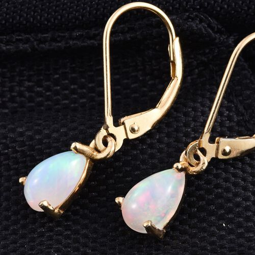 Ethiopian Opal (Pear) Lever Back Earrings in 14K Gold Overlay Sterling Silver 1.000 Ct.