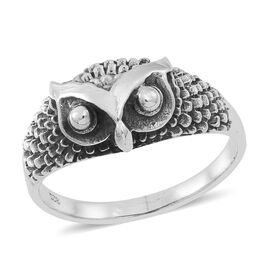 Thai Rhodium Plated Sterling Silver Owl Ring, Silver wt 4.00 Gms.