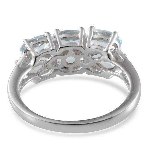 Espirito Santo Aquamarine (Ovl) Ring in Platinum Overlay Sterling Silver 2.000 Ct.