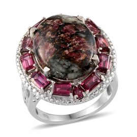 Natural Russian Eudialyte (Ovl 9.75 Ct), Rhodolite Garnet and Diamond Ring in Platinum Overlay Sterling Silver 13.800 Ct.