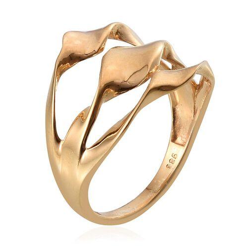Designer Inspired 14K Gold Overlay Sterling Silver Swirl Ring, Silver wt 4.41 Gms.