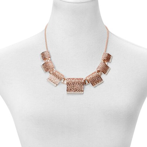 Egyptian BIB Necklace (Size 20 with 2 inch Extender) and Stud Earrings (with Push Back) in Rose Gold Tone