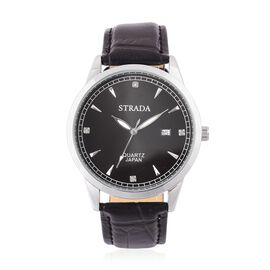 STRADA Japanese Movement White Austrian Crystal Studded Dial Watch in Silver Tone with Stainless Steel Back and Black Leather Strap