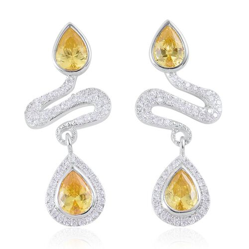 ELANZA AAA Simulated Citrine and Simulated White Diamond Earrings (with Push Back) in Rhodium Plated Sterling Silver