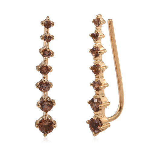 Jenipapo Andalusite (Rnd) Climber Earrings in 14K Gold Overlay Sterling Silver 1.000 Ct.