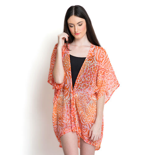 Orange and Pink Colour Printed White Colour Kimono (Free Size)