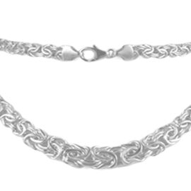JCK Vegas Collection 9K White Gold Graduated Byzantine Necklace (Size 20), Gold Wt. 14.50 Gms.