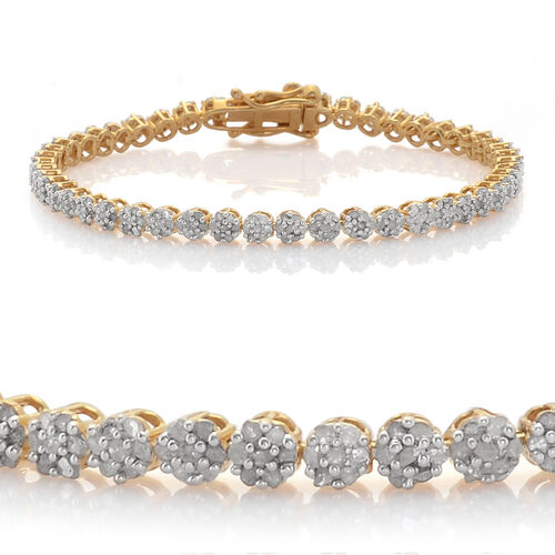 Single Cut (8 -8) Diamond (Rnd) Bracelet (Size 7) in 14K Gold Overlay Sterling Silver 2.000 Ct.