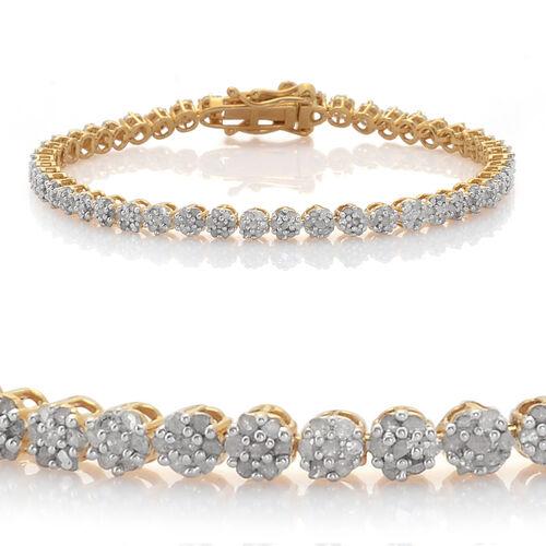 Diamond (Rnd) Bracelet (Size 8) in 14K Gold Overlay Sterling Silver 2.000 Ct.
