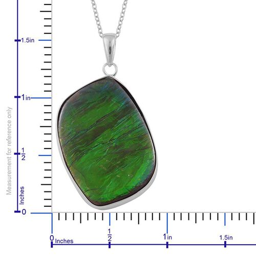(Option 3) Canadian Ammolite Pendant With Chain in Rhodium Plated Sterling Silver 20.280 Ct.