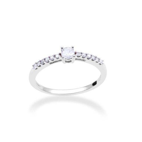 9K White Gold GSI Certified Diamond (Rnd 0.15 Ct) (I3/G-H) Ring 0.250 Ct.