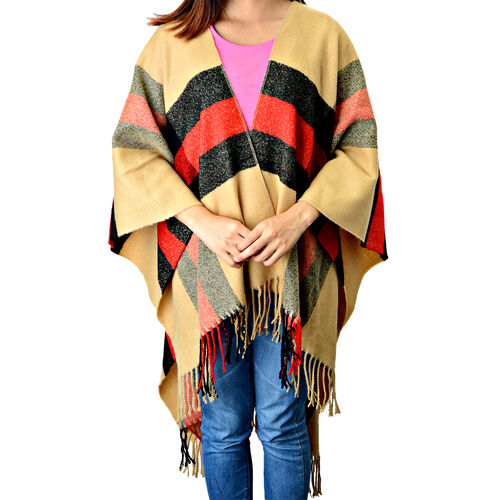 Check Pattern Cream, Black and Red Wrap Cape (Size 120x160 Cm)