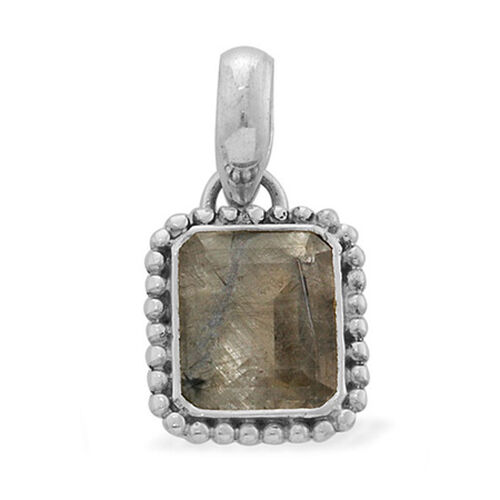 Jewels of India Dragonfly Quartz (Oct) Solitaire Pendant in Sterling Silver 5.000 Ct.