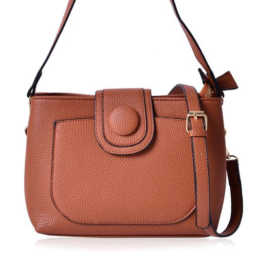Snake Embossed Chocolate Colour Crossbody Bag With Adjustable and Removable Shoulder Strap (Size 26x18x10 Cm)