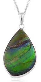 (Option 3) Canadian Ammolite Pendant With Chain in Rhodium Plated Sterling Silver 22.840 Ct.