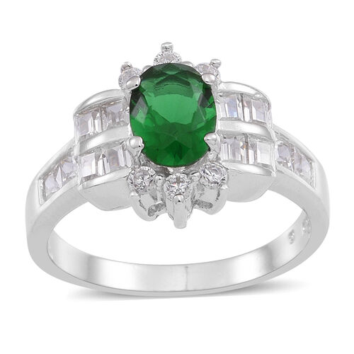 ELANZA AAA Simulated Emerald (Ovl), Simulated White Diamond Ring in Rhodium Plated Sterling Silver